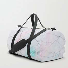 Grey and azure Marble texture Duffle Bag