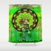 virgo Shower Curtains featuring Virgo by Lady Amethystine