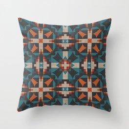 Teal Blue Coral Orange Red Ethnic Mosaic Pattern Throw Pillow