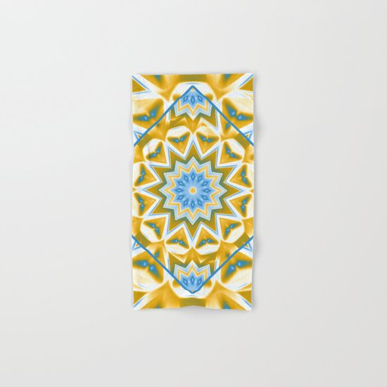 Wheel cover kaleidoscope in blue and gold Hand & Bath Towel