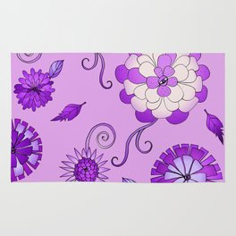 Purple Crazy Daisy pattern Rug