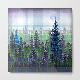 Plaid Forest Metal Print