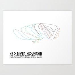 Mad River Mountain, OH - Minimalist Trail Art Art Print