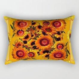 ORANGE YELLOW SUNFLOWERS ART Rectangular Pillow