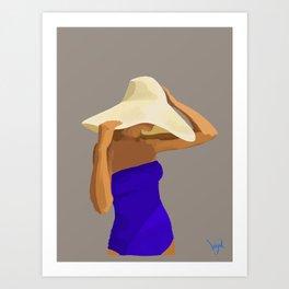 At The Beach: Blue Suit Art Print