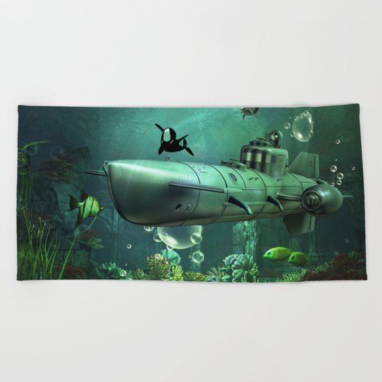 Awesome submarine Beach Towel