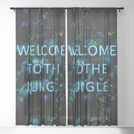 Welcome to the Jungle - Neon Typography Sheer Curtain