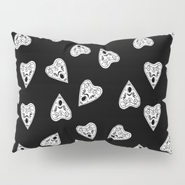 Ouija planchette black and white linocut pattern gifts spiritual magical witches Pillow Sham