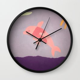Pink Dolphin Wall Clock