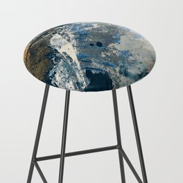 Wander [3]: a vibrant, colorful abstract in blues, pink, white, and gold Bar Stool