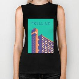 Trellick Tower London Brutalist Architecture - Text Turquoise Biker Tank