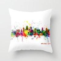 kansas city Throw Pillows featuring Kansas City Skyline by artPause