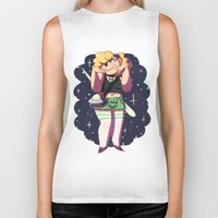 holographic Biker Tanks featuring The Alien Lady by Burgandy Balloons