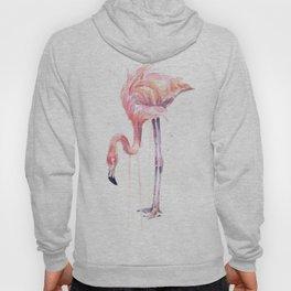 Flamingo Watercolor Painting Pink Tropical Birds Facing Left Hoody