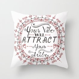 'Your Vibe Will Attract Your Tribe' Quote Mandala Red Throw Pillow