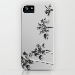 Black Palms // Monotone Gray Beach Photography Vintage Palm Tree Surfer Vibes Home Decor iPhone Case