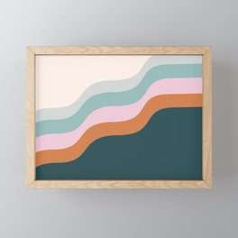 Abstract Diagonal Waves in Teal, Terracotta, and Pink Framed Mini Art Print