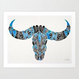 Water Buffalo Skull – Black & Blue Art Print