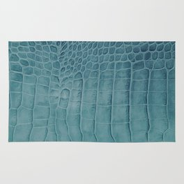 Croco leather effect - Aqua blue Rug