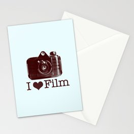 I ♥ Film (Maroon/Aqua) Stationery Cards