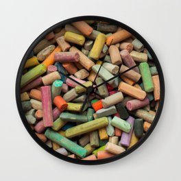 colored pastel chalks Wall Clock