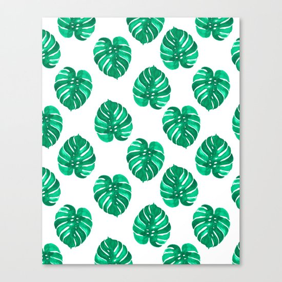 Monstera house plant leaf green painting pattern trendy hipster indoor house plant tropical garden   Canvas Print