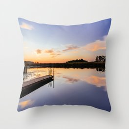 Blue Hour Sunset Over the Water Throw Pillow