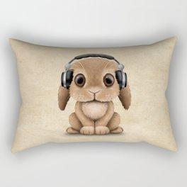 Cute Baby Bunny Dj Wearing Headphones Rectangular Pillow