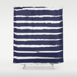 Irregular Hand Painted Stripes Dark Blue Shower Curtain