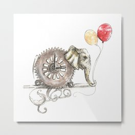 Steampunk Elephant with Balloons Metal Print