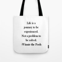 winnie the pooh Tote Bags featuring Winnie the Pooh Quote by Scarlett Alaska