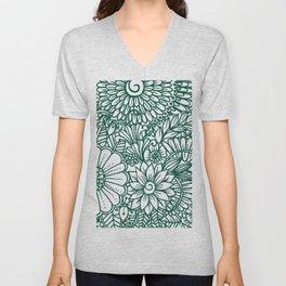 Hand drawn forest green white modern floral Unisex V-Neck