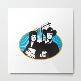 cowboy and girl holding aerial outdoor antennae Metal Print