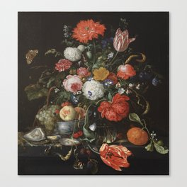 Jan Davidsz de Heem - Flower Still Life with a Bowl of Fruit and Oysters (c.1665) Canvas Print