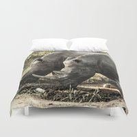 rhino Duvet Covers featuring Rhino by Rebeca Anafe