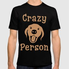Crazy Dog Person [FOR WHITE] MEDIUM Black Mens Fitted Tee