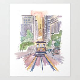San Francisco Cable Car Down To Golden Gate Art Print