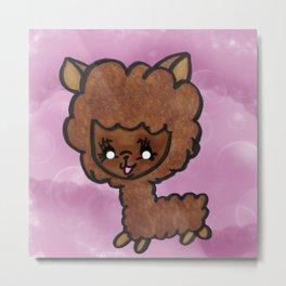 Happy little alpaca Metal Print