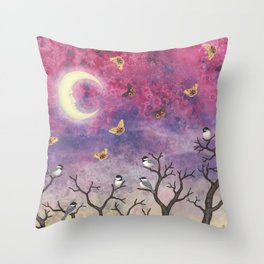 chickadees and io moths in the moonlit sky Throw Pillow