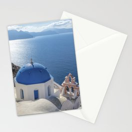 Santorini Island with churches and sea view in Greece Stationery Cards