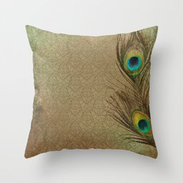 Vintage Peacock Feather Throw Pillow