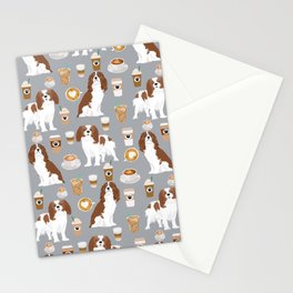 Cavalier King Charles Spaniel coffee lover custom pet portrait by pet friendly dog breeds Stationery Cards