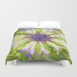 Purple Green Abstract Flower Duvet Cover
