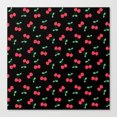 Cherries on Black Canvas Print