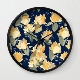Yellow lily pattern Wall Clock