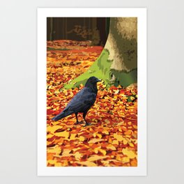 Raven in Autumn Forest Art Print