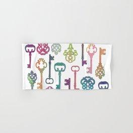 Rainbow Keys on White Hand & Bath Towel