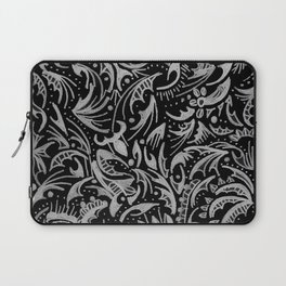 Silver Hand-Drawn Floral-Leaf Laptop Sleeve