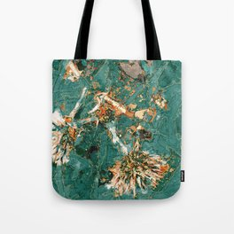 Macelas - Small flowers digitally stylized green marble Tote Bag