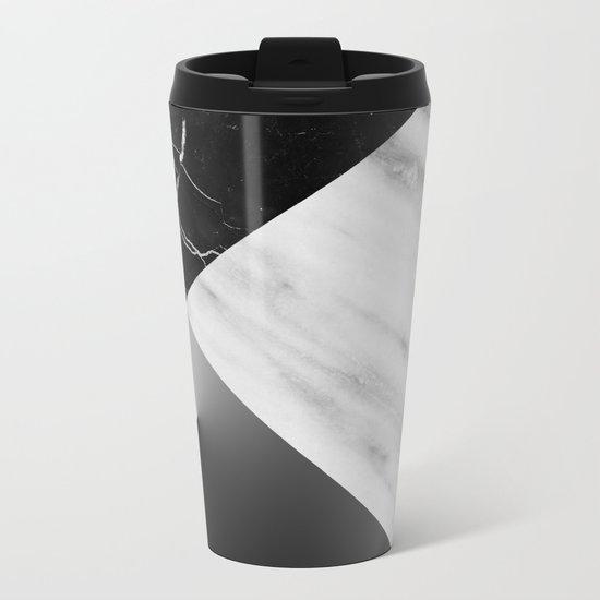 Monochromatic Marble Collage  Metal Travel Mug